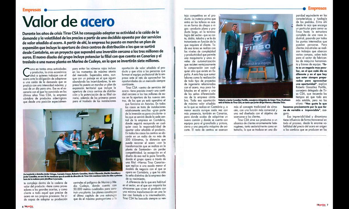 Grupo Tirso, Tirso CSA, secotr siderurgico. Hierros Tirso Canarias